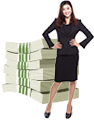 businesswoman with cash
